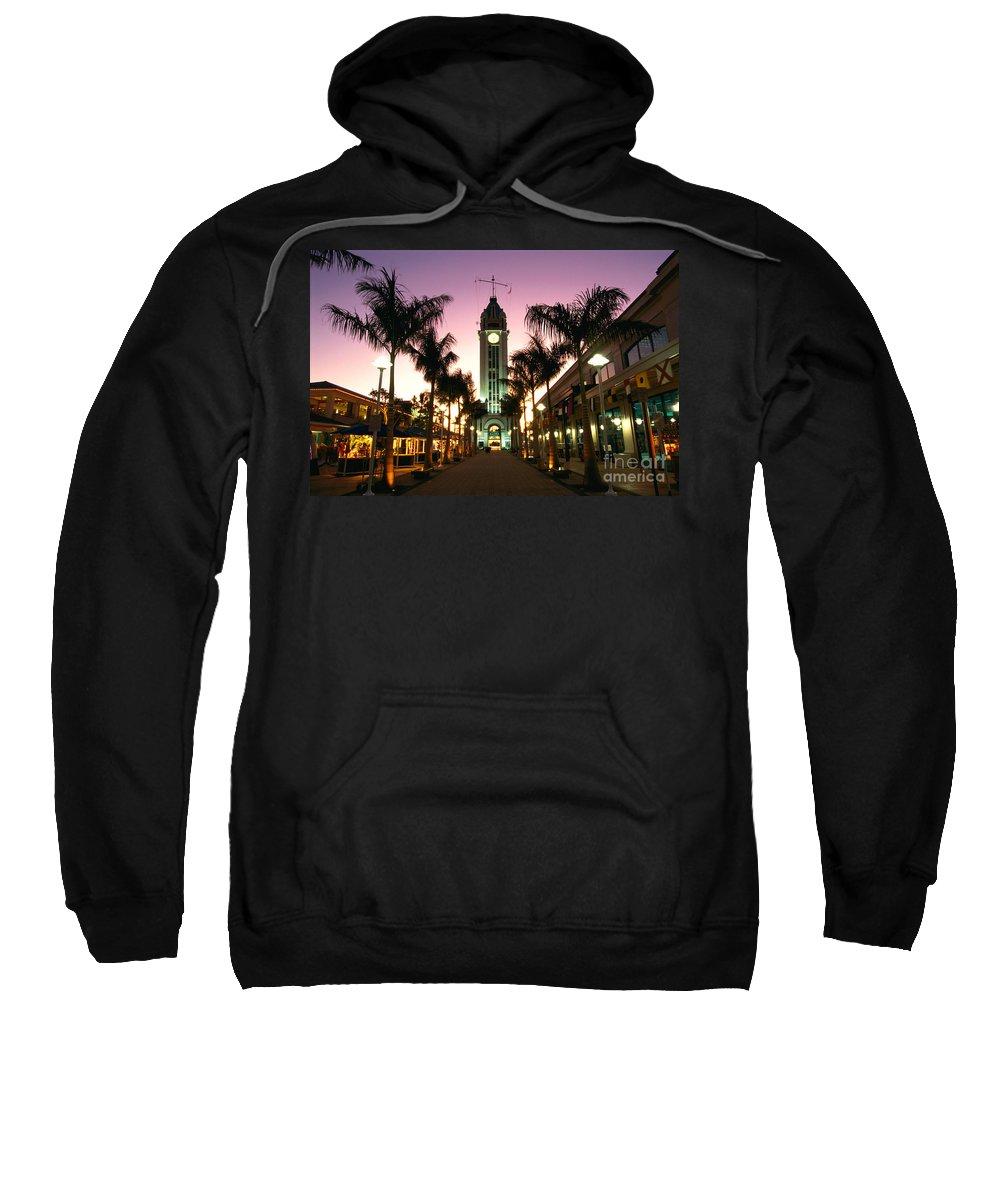 Aloha Sweatshirt featuring the photograph Aloha Tower Marketplace by Bob Abraham - Printscapes