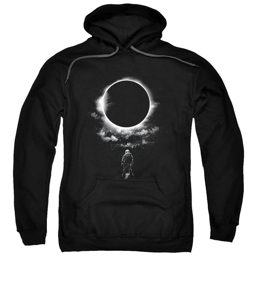 Moon Sweatshirt featuring the digital art Alone In The Space by Poetri Kempit