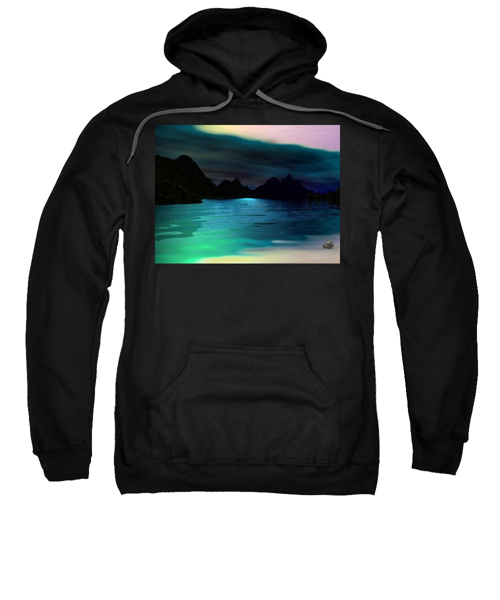 Seascape Sweatshirt featuring the digital art Alone On The Beach by David Lane