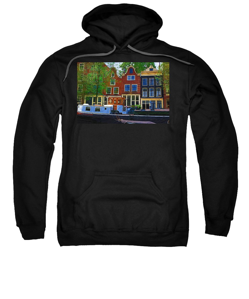 Amsterdam Sweatshirt featuring the photograph Along The Canal by Tom Reynen