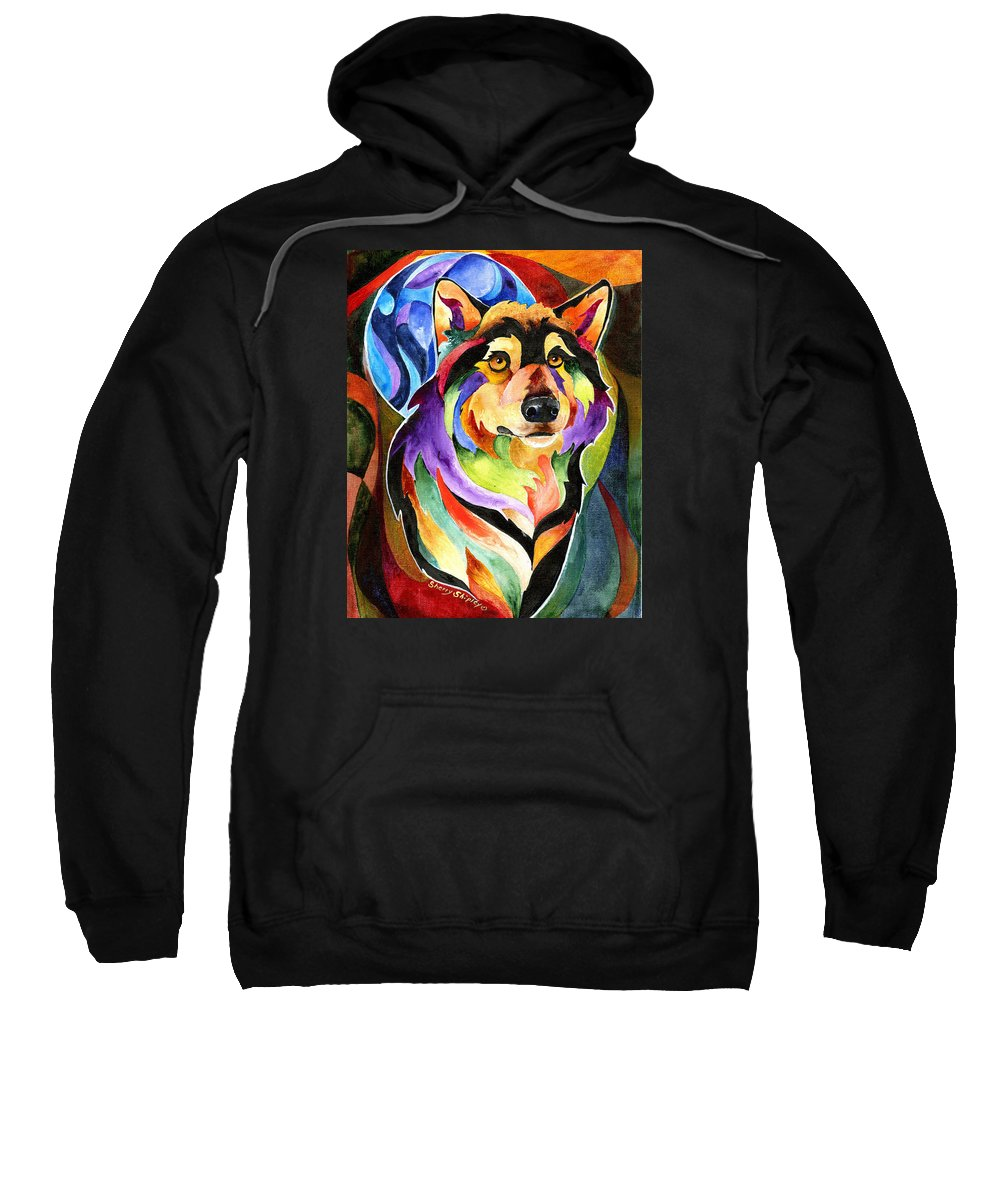 Wolf Sweatshirt featuring the painting Alpha Moon by Sherry Shipley