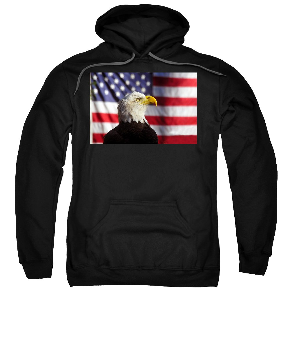 Bald Eagle Sweatshirt featuring the photograph American Eagle by David Lee Thompson
