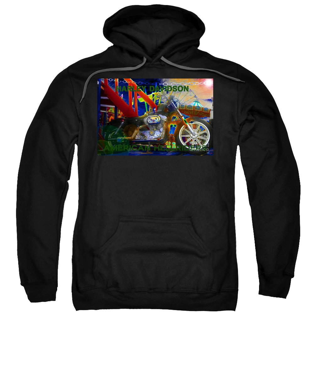 Art Sweatshirt featuring the painting American Hellriders by David Lee Thompson