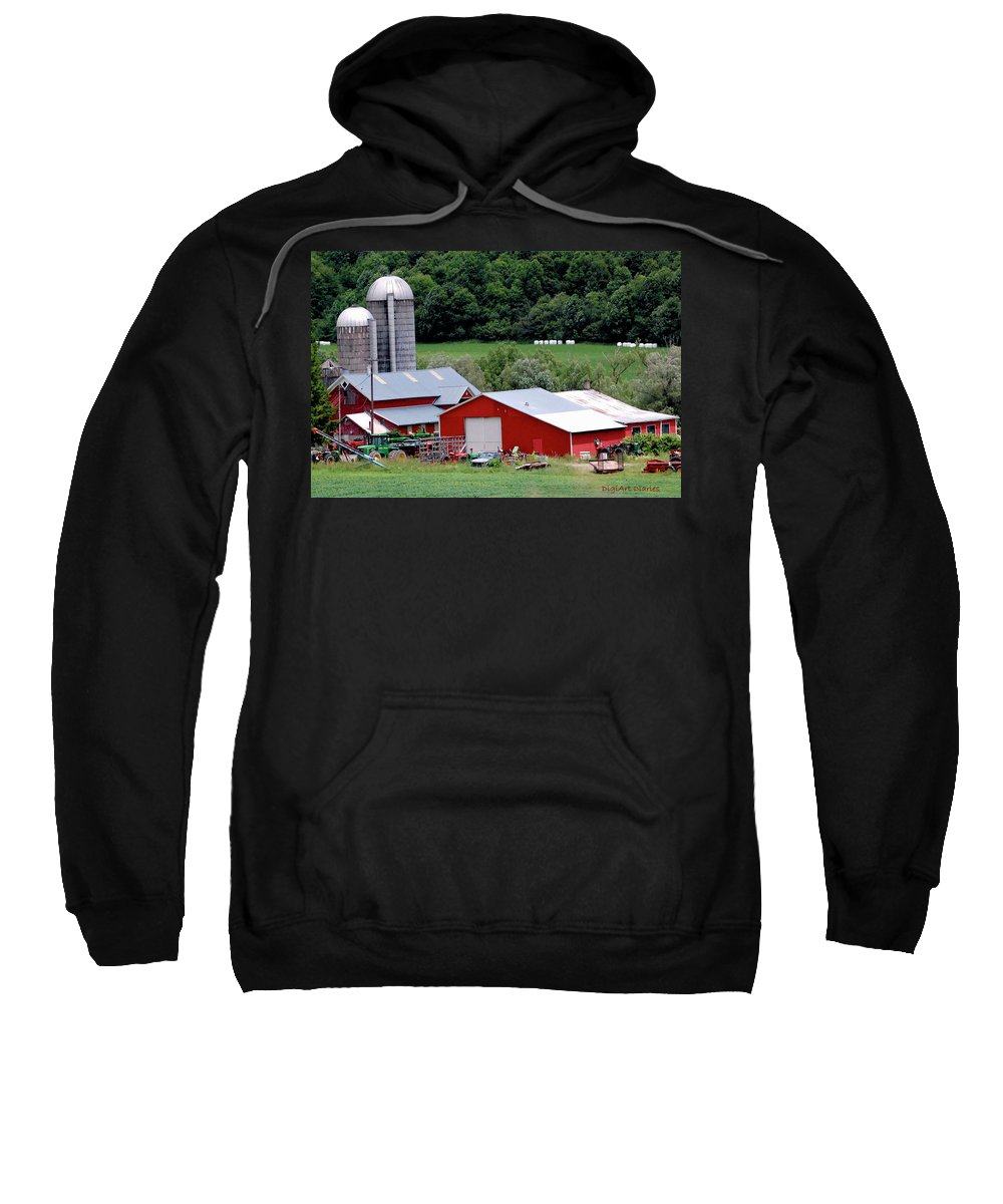 Barns Sweatshirt featuring the digital art Americas Heartland by DigiArt Diaries by Vicky B Fuller