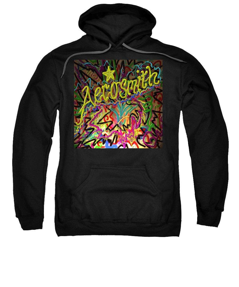 Aerosmith Sweatshirt featuring the painting America's Rock Band by Kevin Caudill