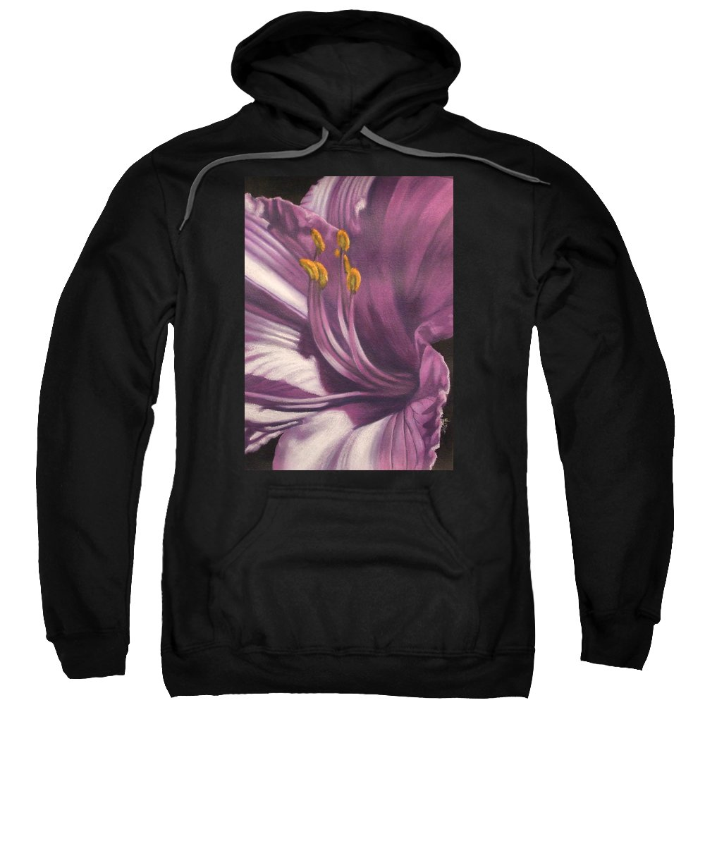 Floral Sweatshirt featuring the mixed media Amethyst by Barbara Keith