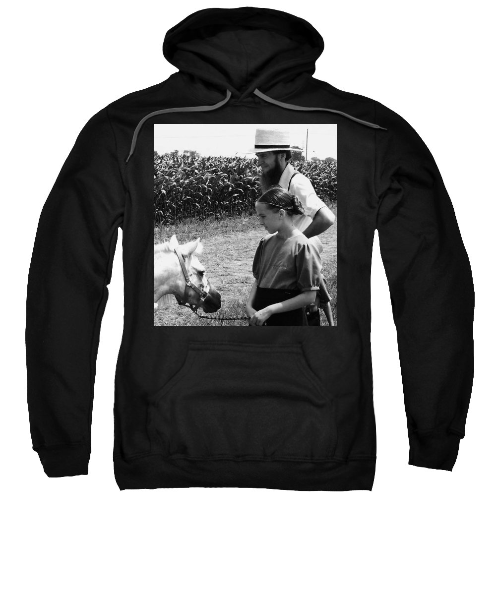 Amish Sweatshirt featuring the photograph Amish Girl And Pony by Eric Schiabor