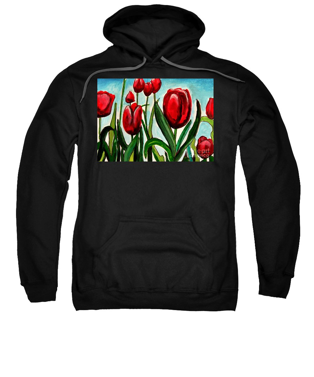 Tulips Sweatshirt featuring the painting Among The Tulips by Elizabeth Robinette Tyndall