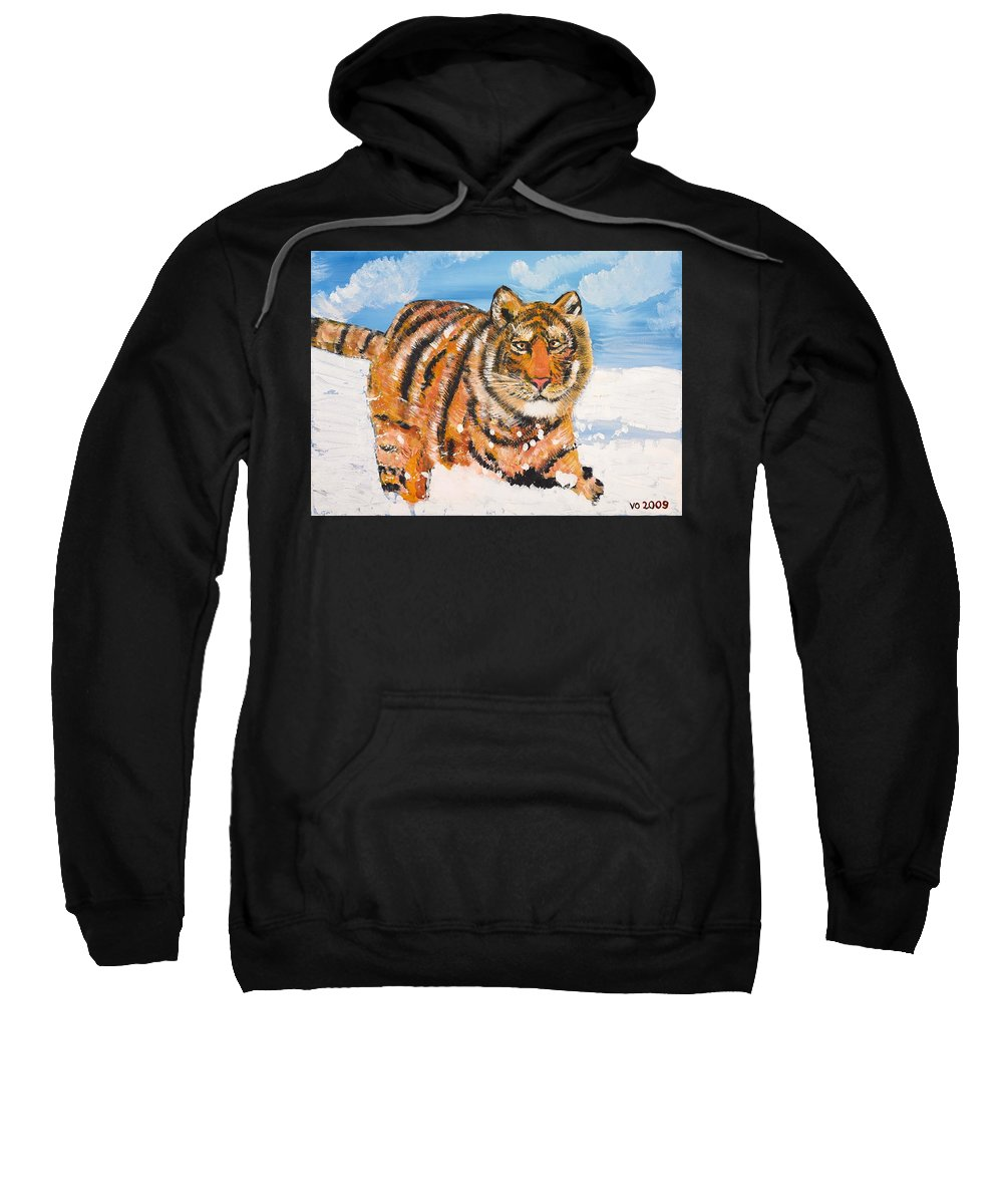 Cat Sweatshirt featuring the painting Amur Tiger by Valerie Ornstein