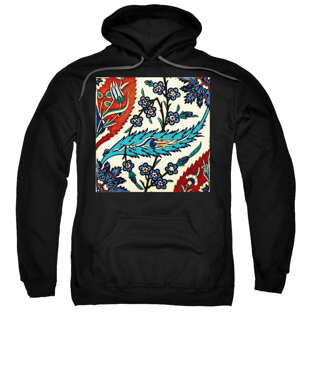 Turkish Sweatshirt featuring the painting An Iznik Polychrome Tile, Turkey, Circa 1575, By Adam Asar, No 25a by Adam Asar