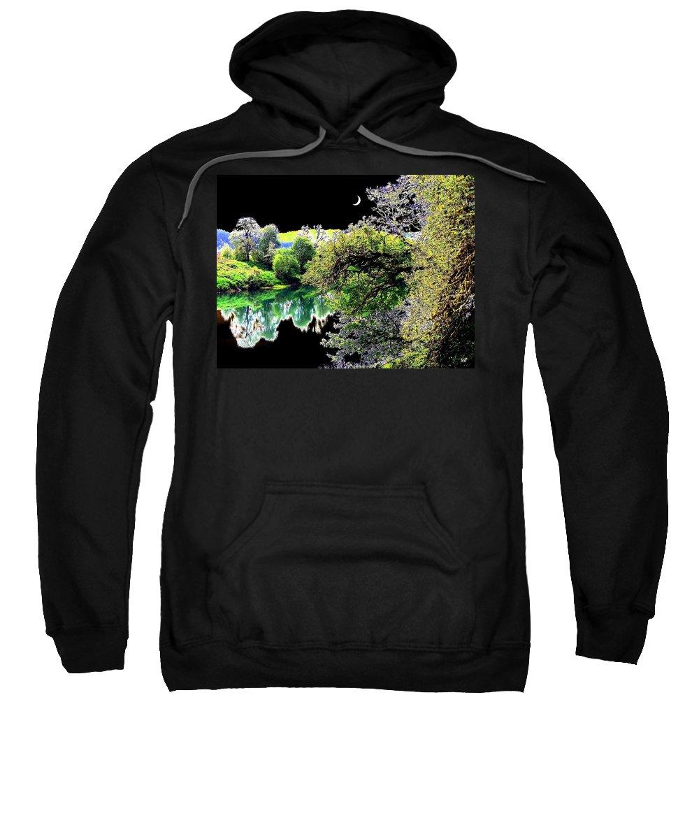 Umpqua River Sweatshirt featuring the digital art An Umpqua Night by Will Borden