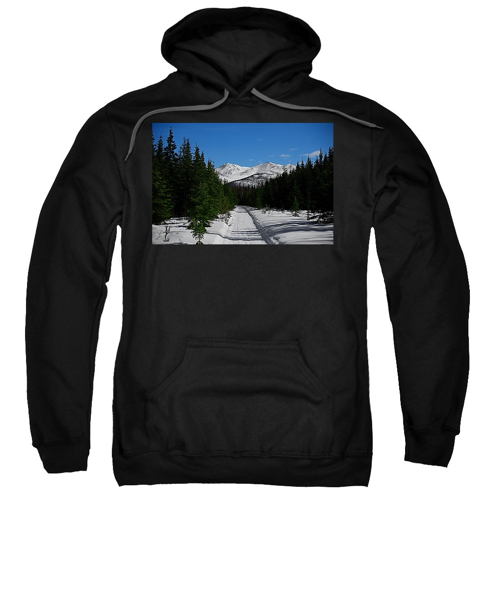 Anchorage Mountains White Trees Sweatshirt featuring the photograph Anchorage Mountains by Galeria Trompiz