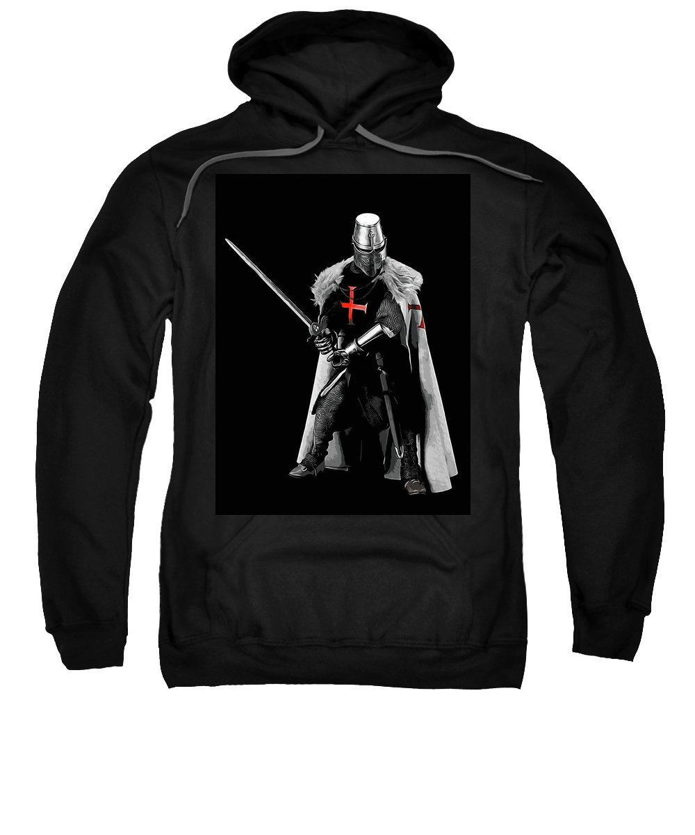 Templar Sergeant Sweatshirt featuring the painting Ancient Templar Knight - 05 by Andrea Mazzocchetti
