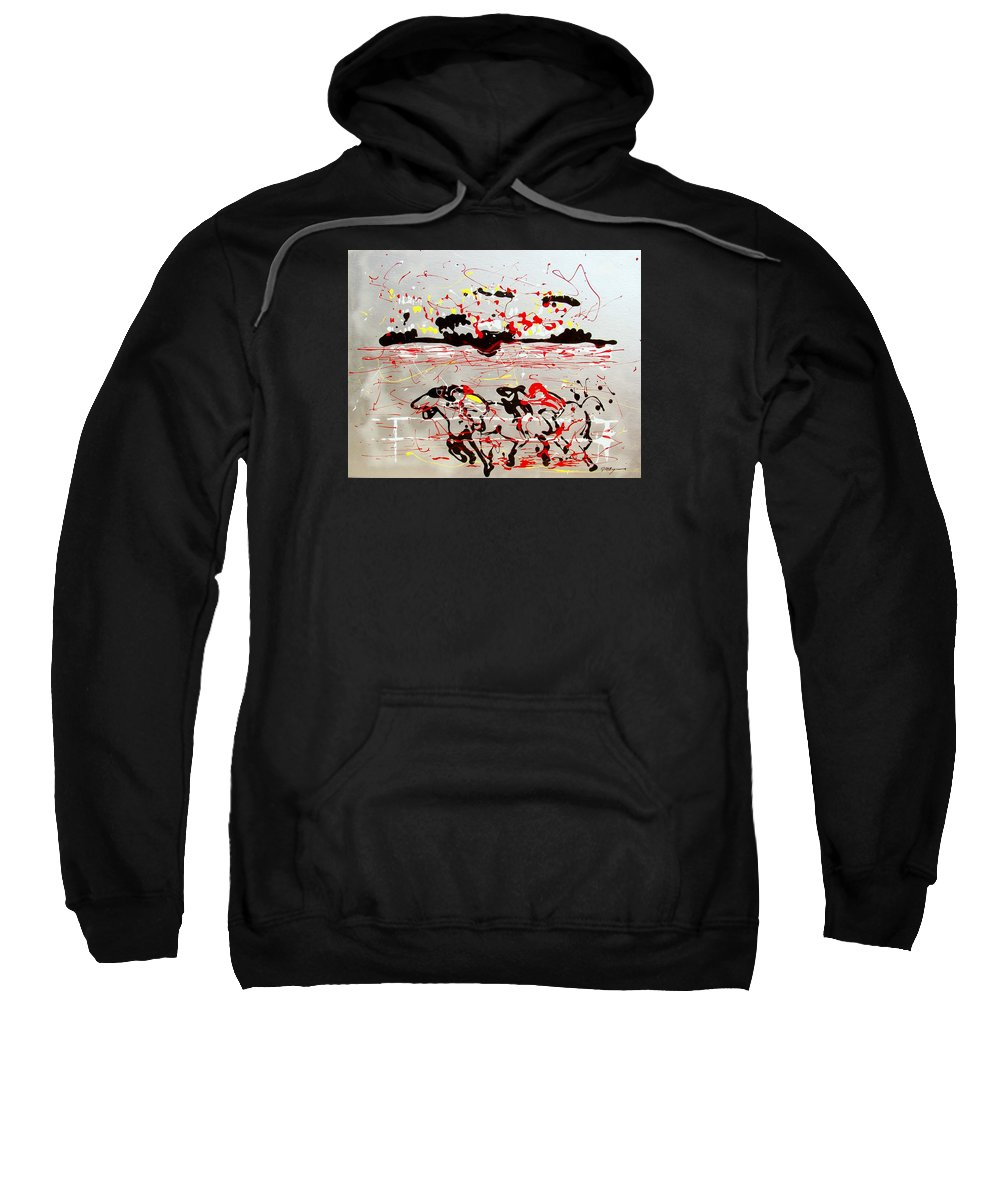 Abstract Sweatshirt featuring the mixed media And Down The Stretch They Come by J R Seymour