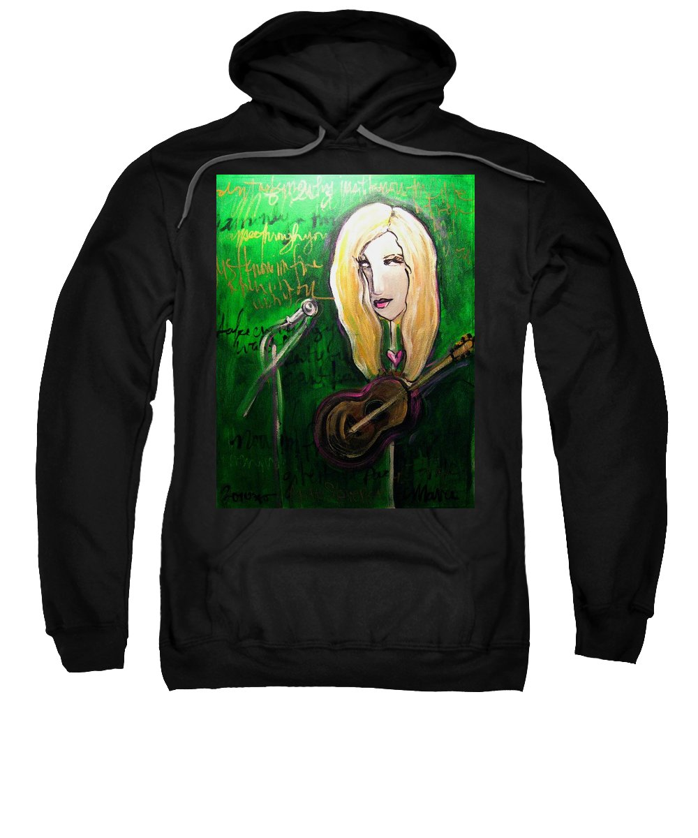 Green Sweatshirt featuring the painting Angie Stevens Solo by Laurie Maves ART