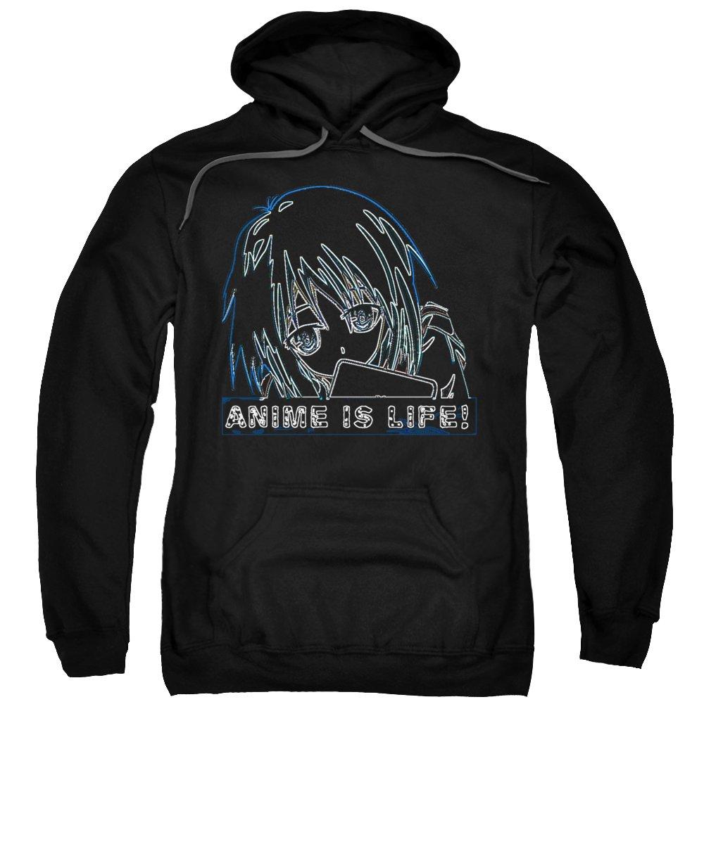 Anime Art Sweatshirt featuring the digital art Anime Is Life Outline 2 by Kaylin Watchorn