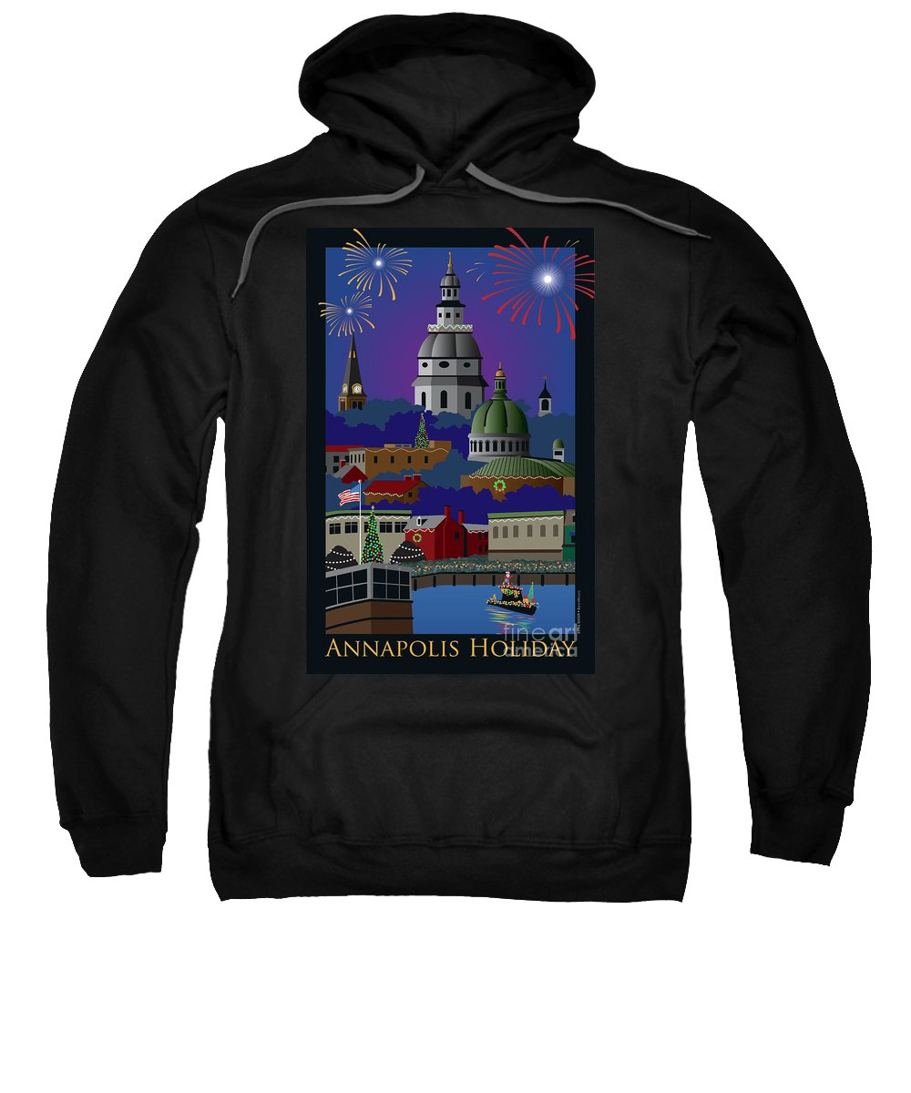 Holiday Sweatshirt featuring the digital art Annapolis Holiday With Title by Joe Barsin