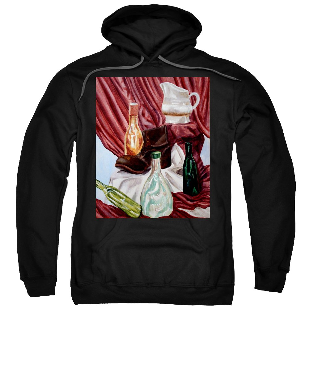 Still Life Sweatshirt featuring the painting Antiques Velore by Elizabeth Robinette Tyndall
