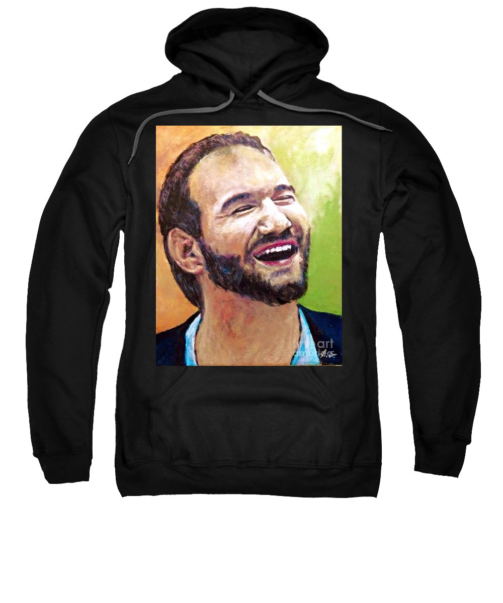 Nick Vujicic Sweatshirt featuring the painting Anything Is Possible by Alexander Gatsaniouk