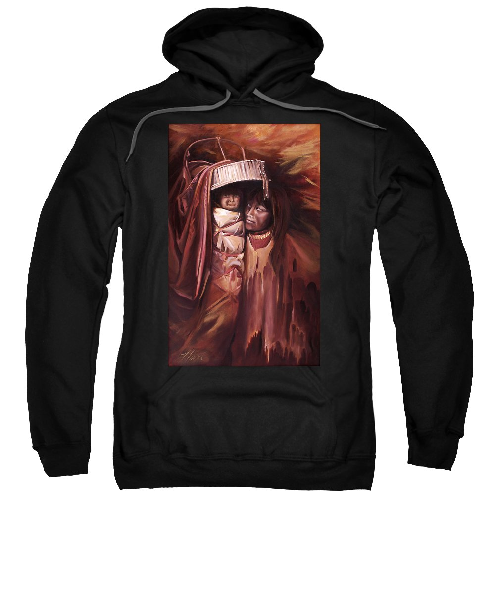 Native American Sweatshirt featuring the painting Apache Girl And Papoose by Nancy Griswold