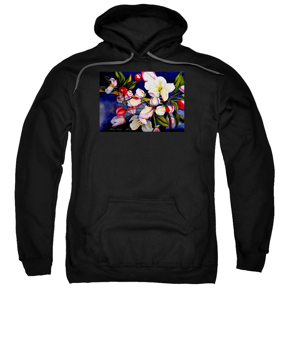 Apple Blossoms Sweatshirt featuring the painting Apple Blossom Time by Karen Stark