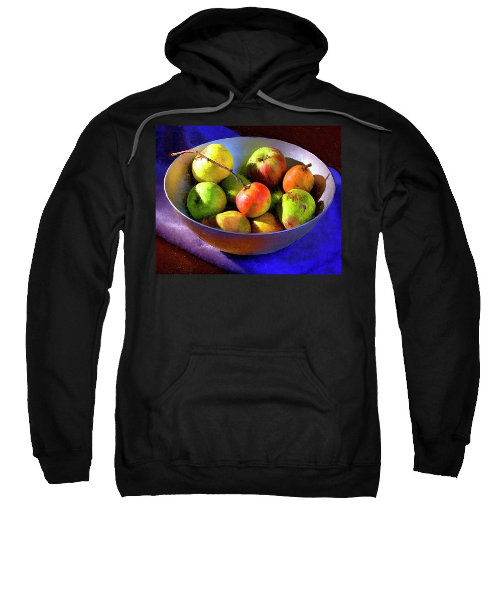 Apples Sweatshirt featuring the painting Apples And Pears by Dominic Piperata