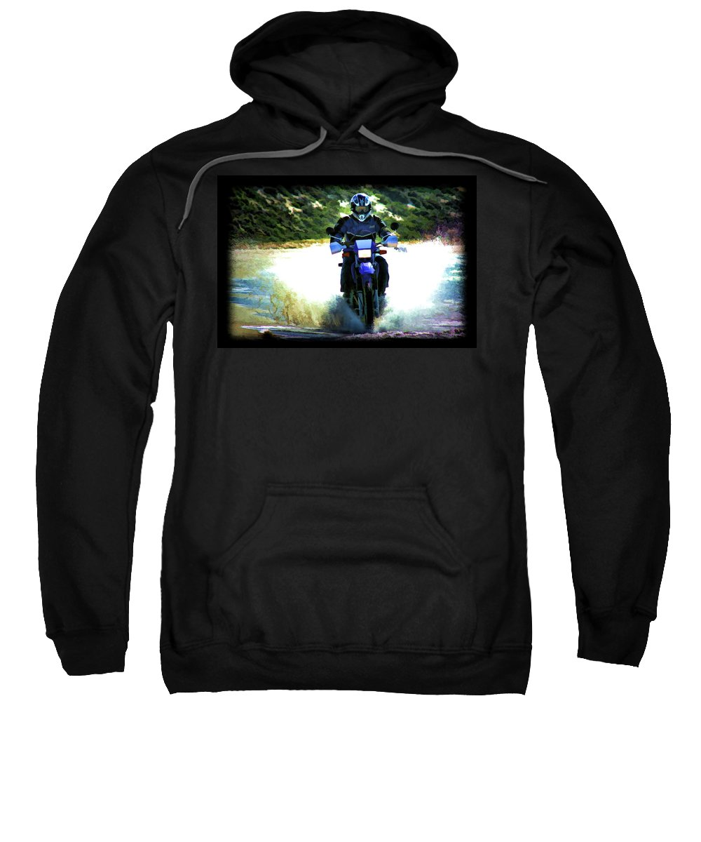 Motorcycle Sweatshirt featuring the photograph Aquaplaning by Douglas Barnard