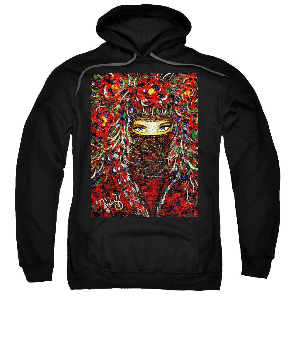 Woman Sweatshirt featuring the painting Arabian Eyes by Natalie Holland