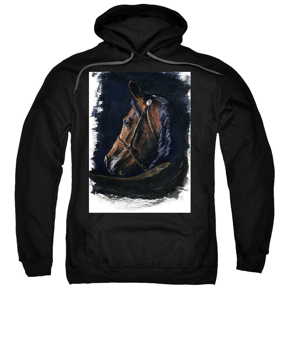 Horse Sweatshirt featuring the painting Arabian by John D Benson