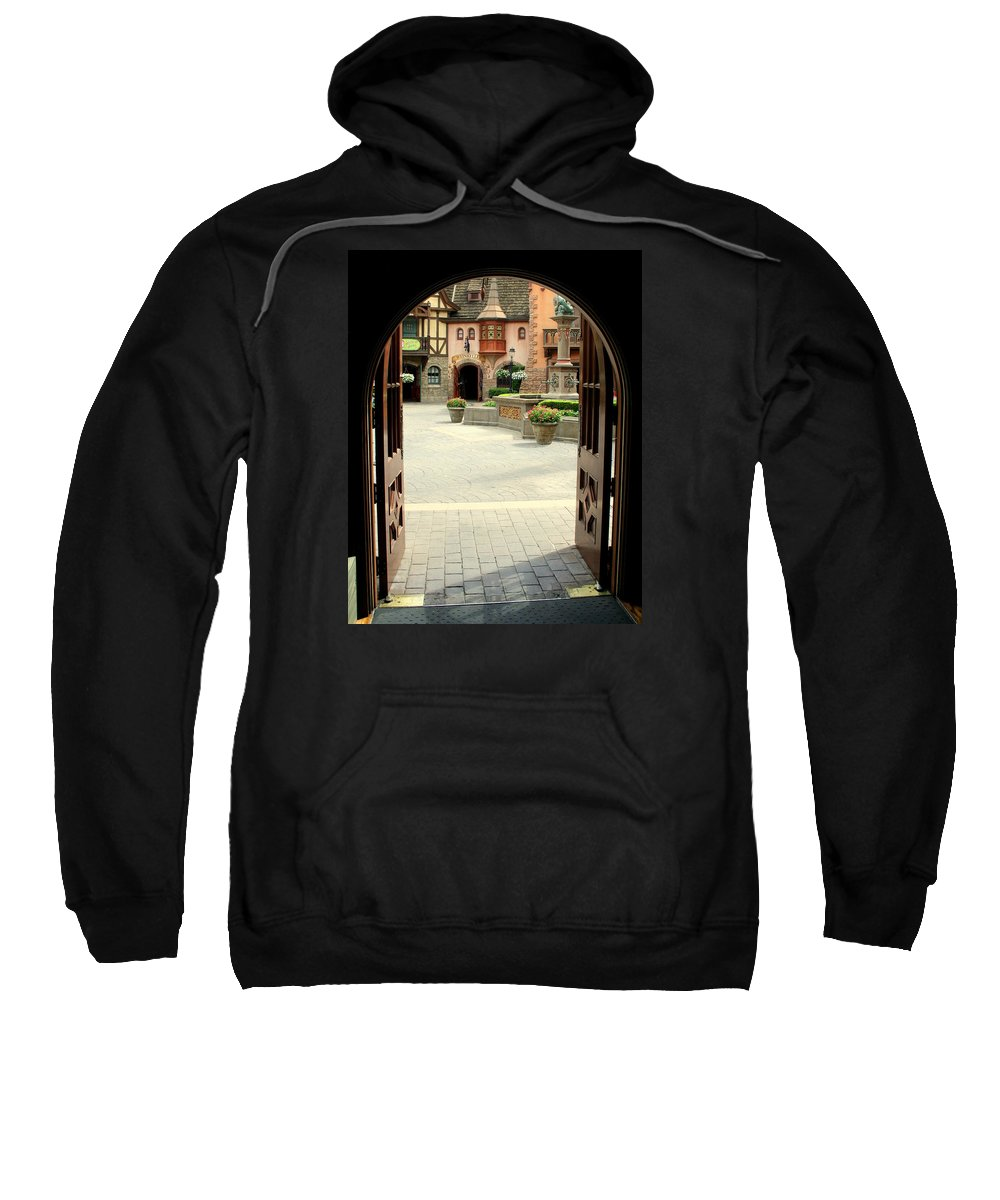 Arched Sweatshirt featuring the photograph Arched Doorway With A Bavarian View by Anita Hiltz