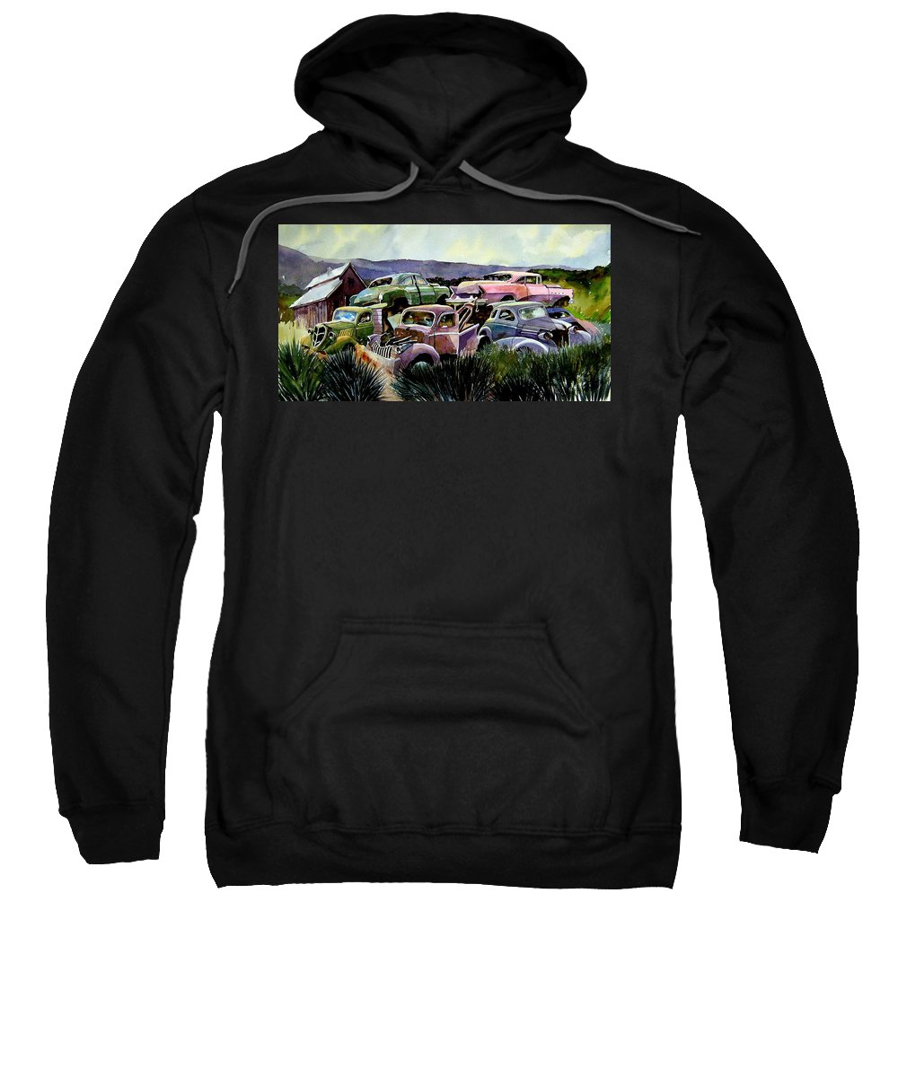 Cars Sweatshirt featuring the painting Art In The Orchard by Ron Morrison