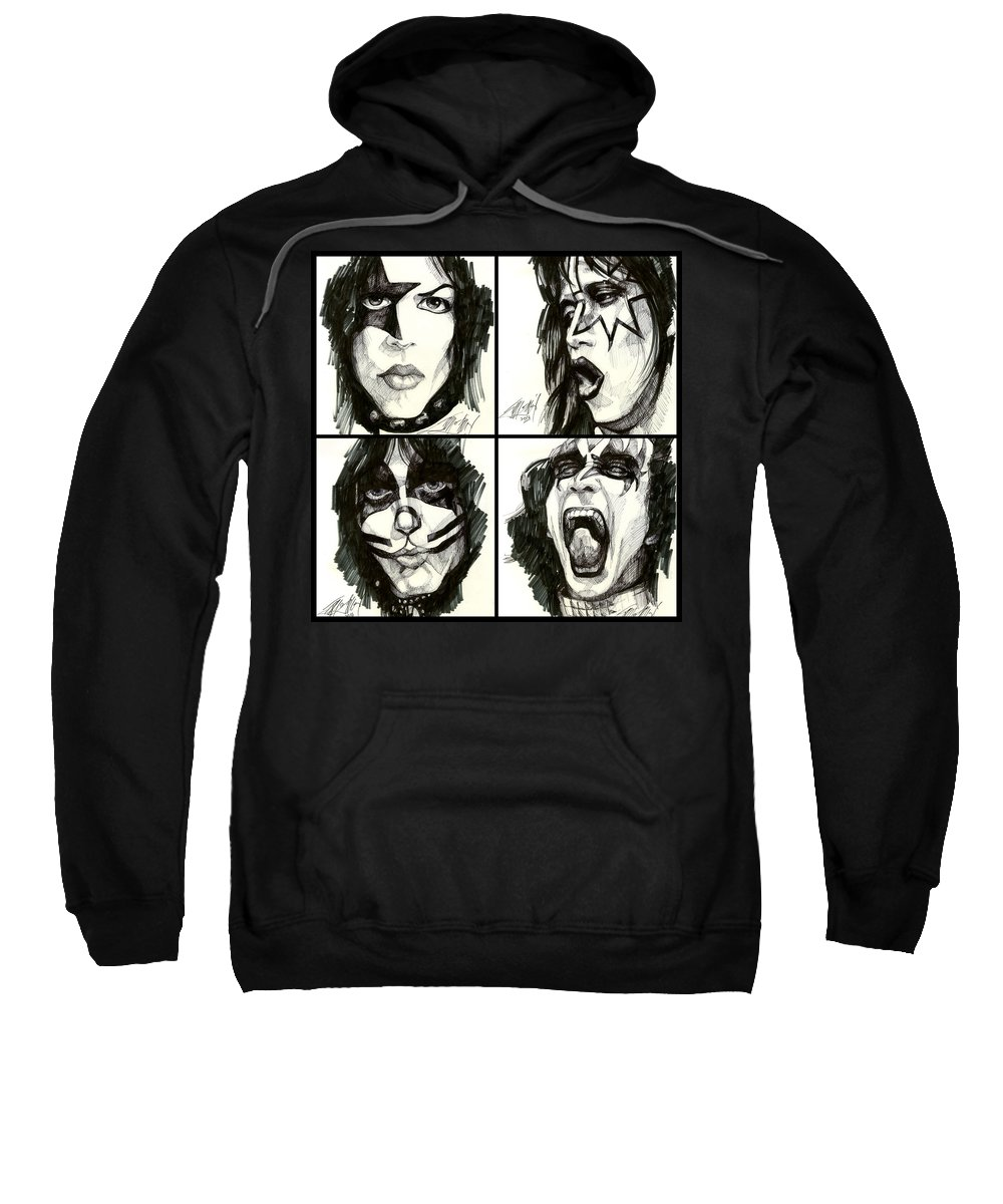 Kiss Sweatshirt featuring the drawing The Originals by James Simon