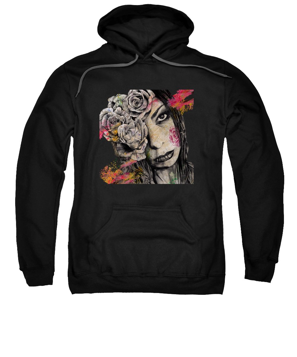 Female Sweatshirt featuring the drawing Of Suffering by Marco Paludet