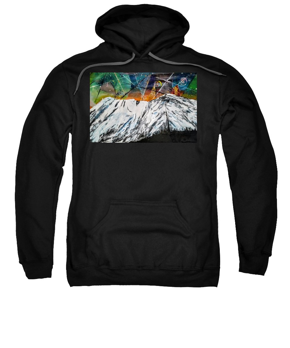 Mountains Cereal Mount Shasta Night Sky Sweatshirt featuring the painting As She Sleeps by Valerie Josi