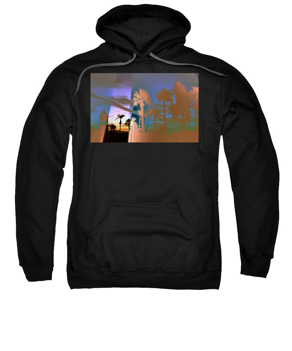 Fog. Palm Trees Sweatshirt featuring the photograph As The Fog Lifts by Irma BACKELANT GALLERIES