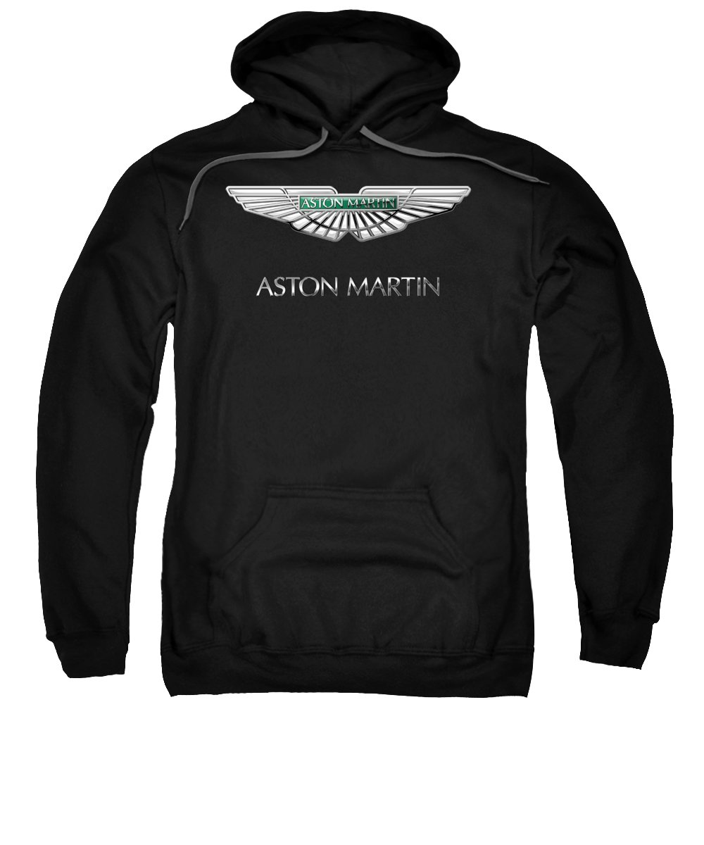 'wheels Of Fortune� Collection By Serge Averbukh Sweatshirt featuring the photograph Aston Martin 3 D Badge on Black by Serge Averbukh
