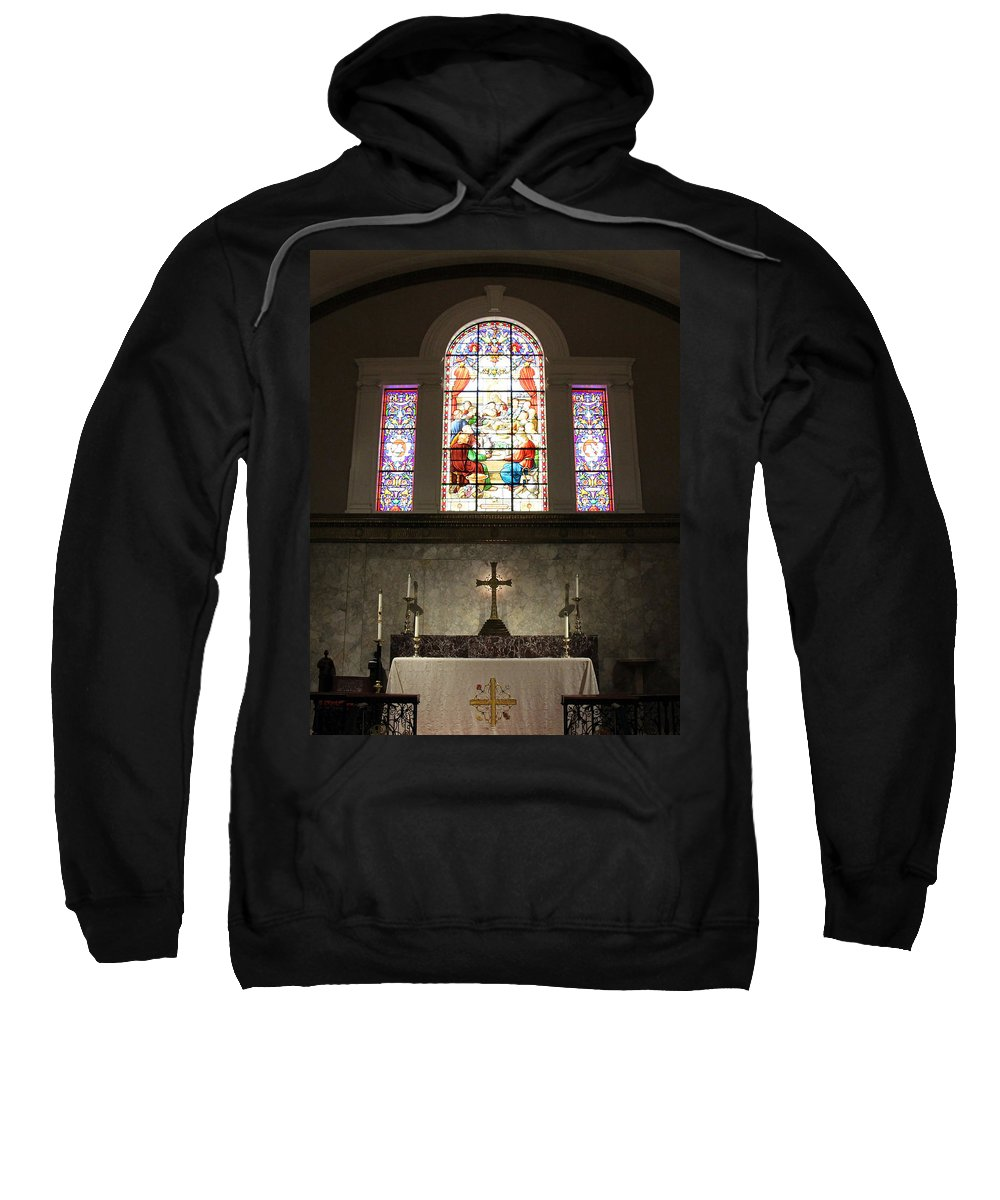 Altar Sweatshirt featuring the photograph At The Altar In Church Of The Presidents by Cora Wandel