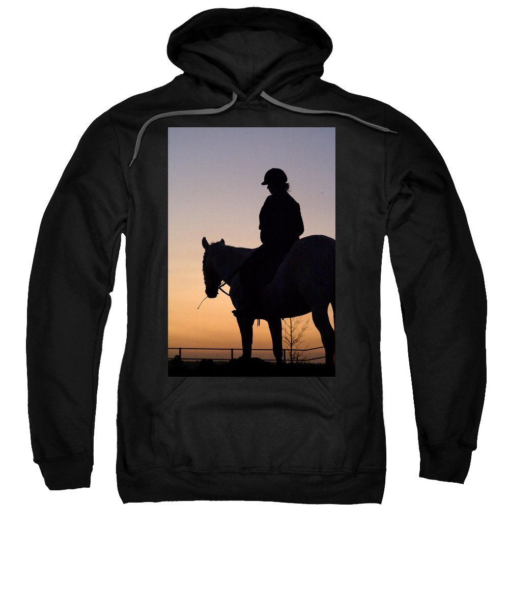 Horse Sweatshirt featuring the photograph At The End Of The Day by Tracey Beer