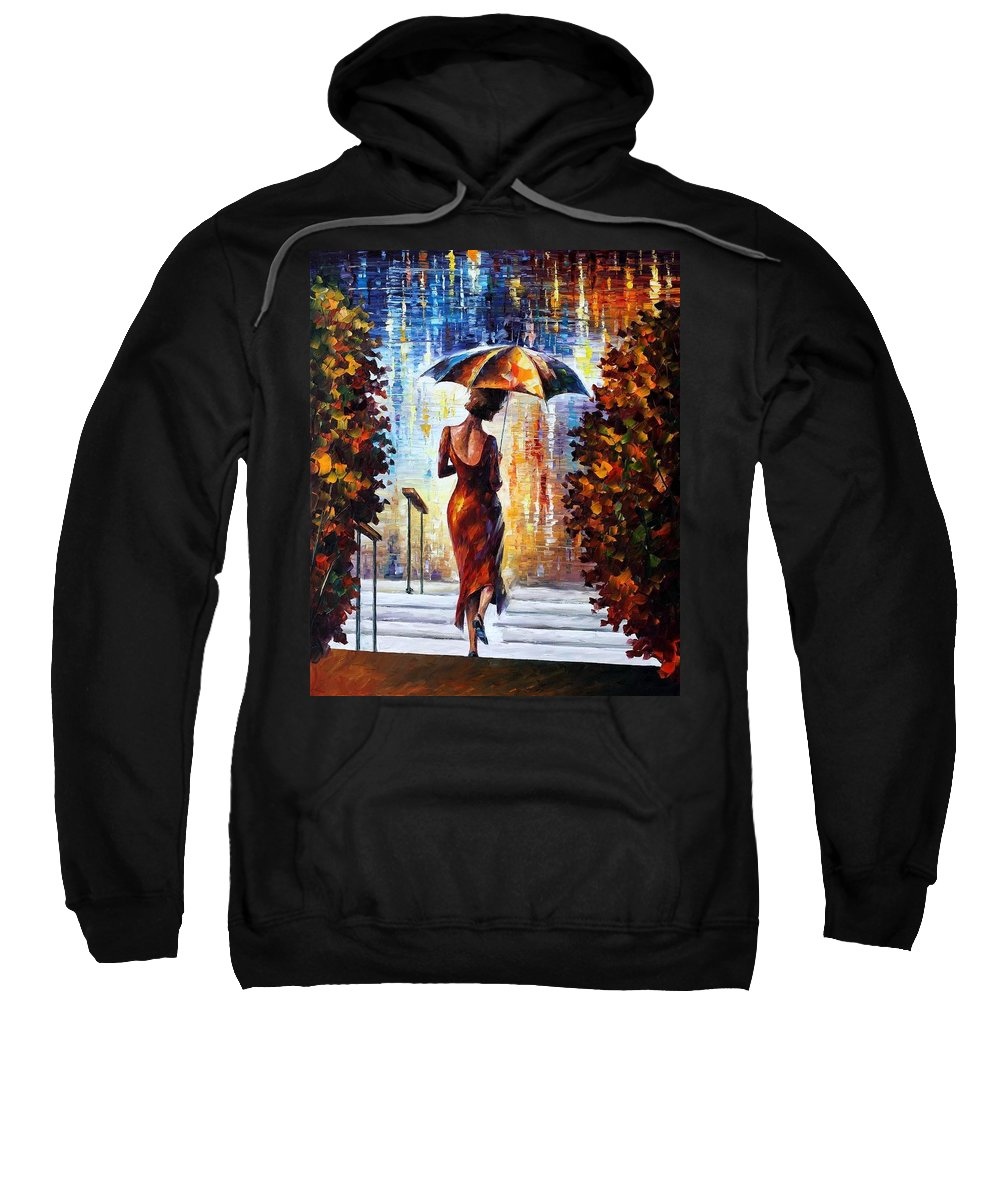 Afremov Sweatshirt featuring the painting At The Steps by Leonid Afremov