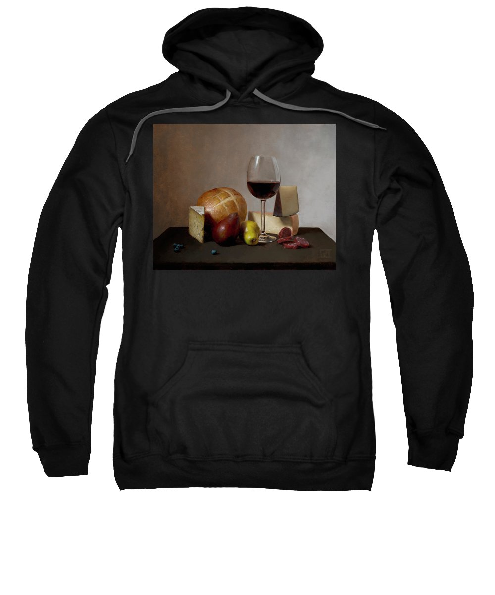 Still Sweatshirt featuring the painting At The Table by Ernest Vincent Wood III