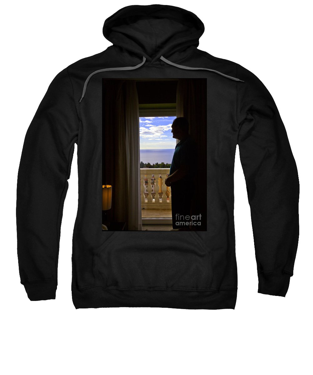 Window Sweatshirt featuring the photograph At The Window In Taormina by Madeline Ellis