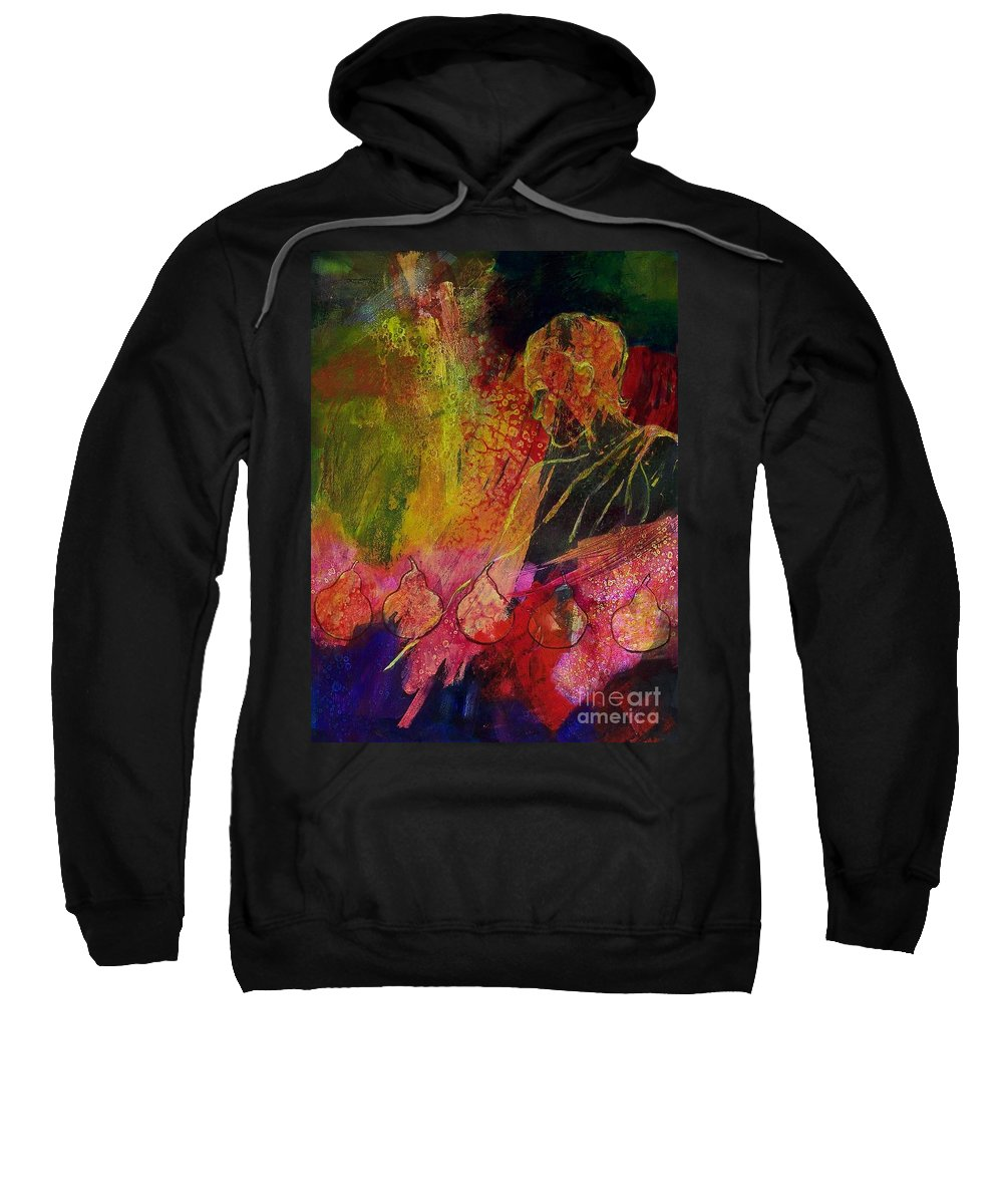 Abstract Expressionism Sweatshirt featuring the painting Au Pear 013 by Donna Frost
