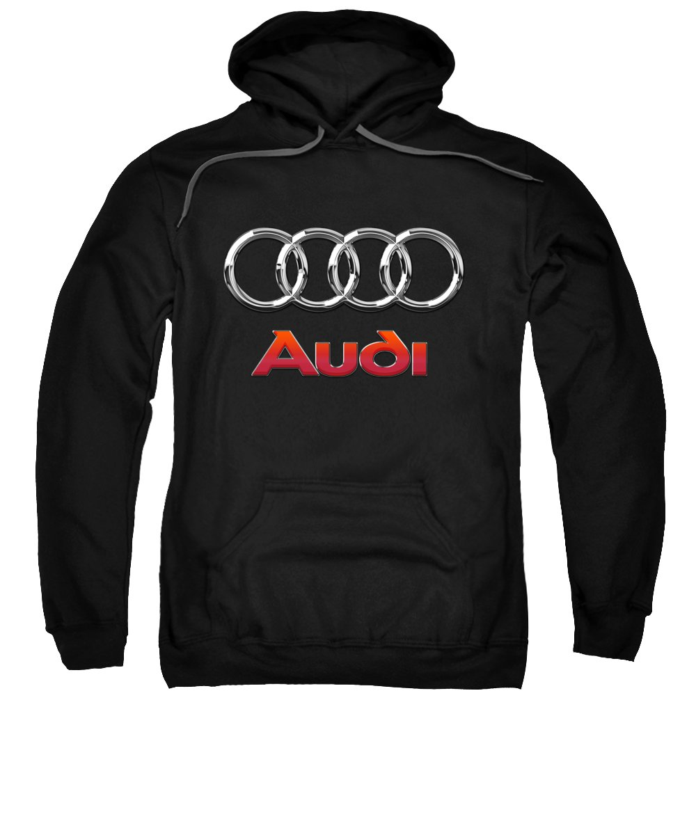 'wheels Of Fortune' Collection By Serge Averbukh Sweatshirt featuring the photograph Audi 3 D Badge On Black by Serge Averbukh