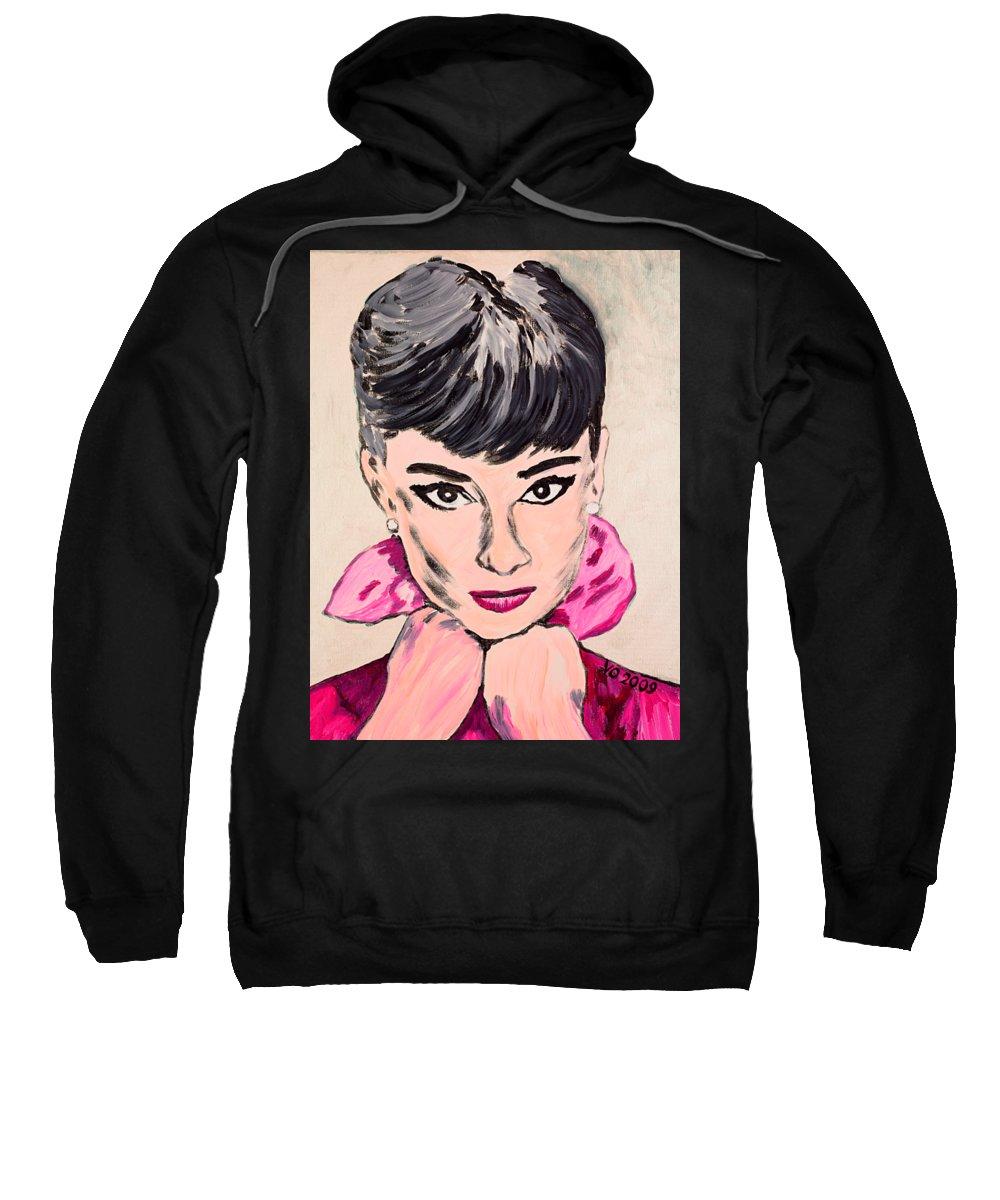 Portrait Sweatshirt featuring the painting Audrey Hepburn by Valerie Ornstein