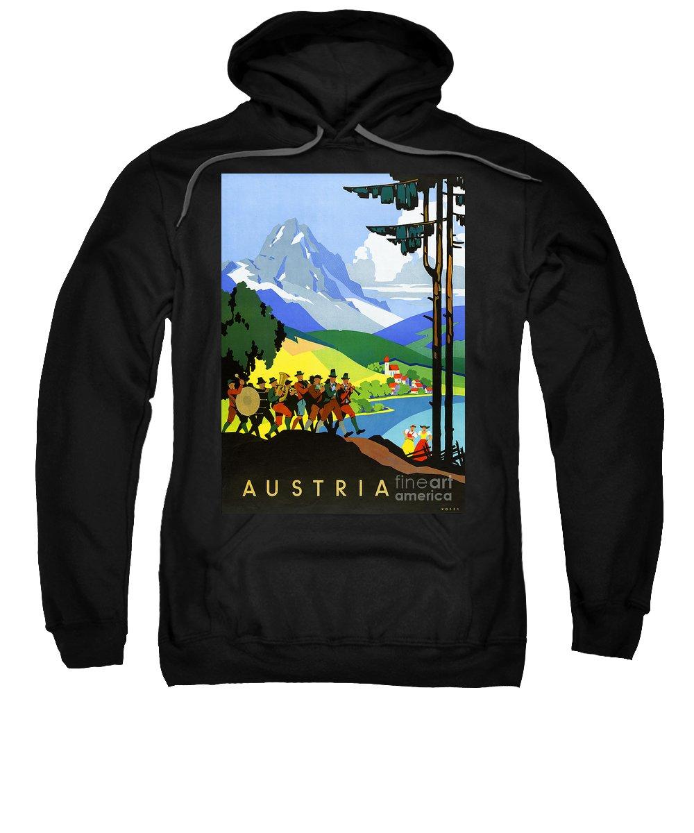 Vintage Sweatshirt featuring the painting Austria Vintage Travel Poster by Vintage Treasure