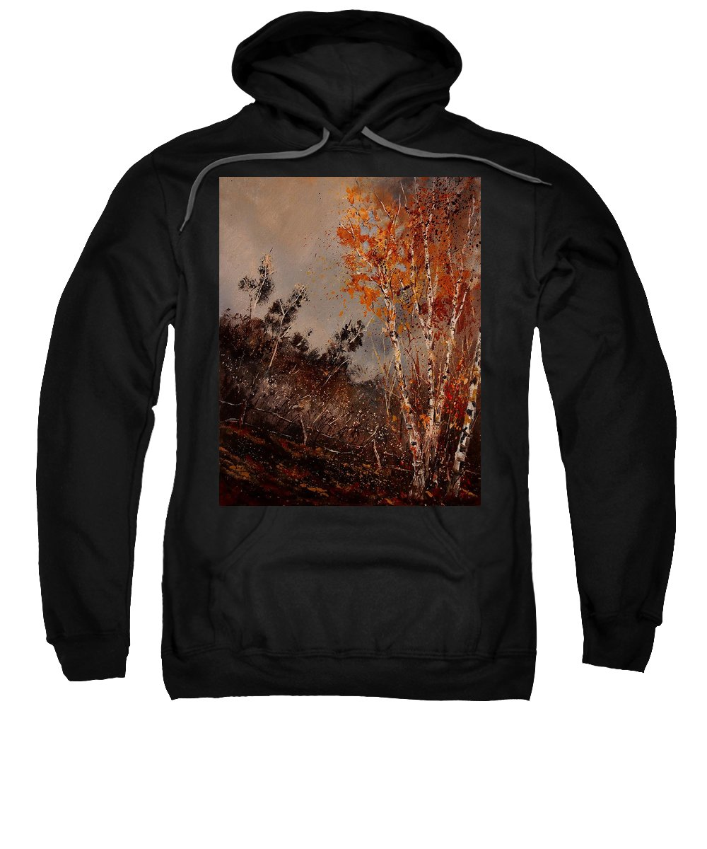 Tree Sweatshirt featuring the painting Autumn Birches by Pol Ledent