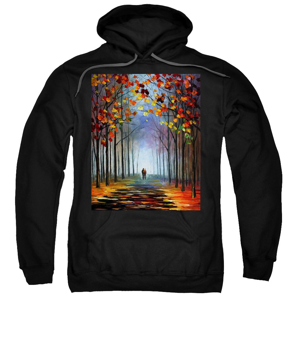 Afremov Sweatshirt featuring the painting Autumn Fog by Leonid Afremov