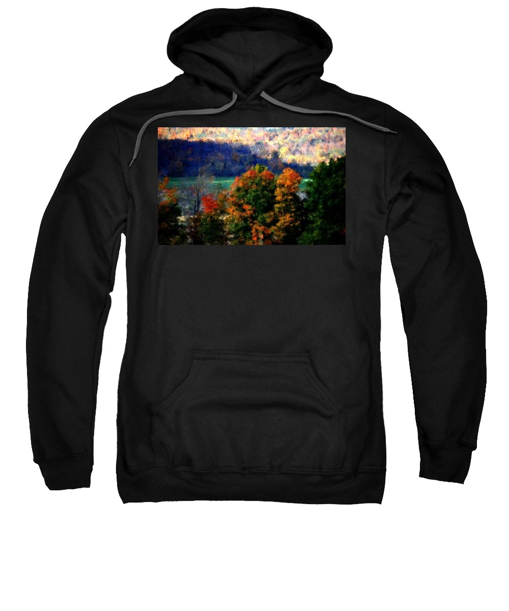Digital Photograph Sweatshirt featuring the photograph Autumn Hedgerow by David Lane