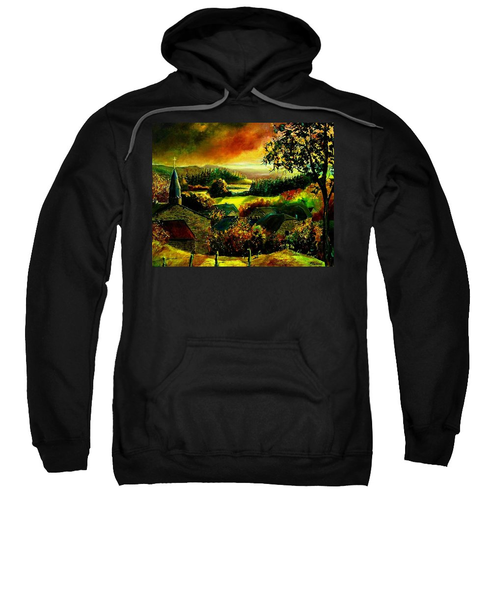 Landscape Sweatshirt featuring the painting Autumn In Our Village Ardennes by Pol Ledent