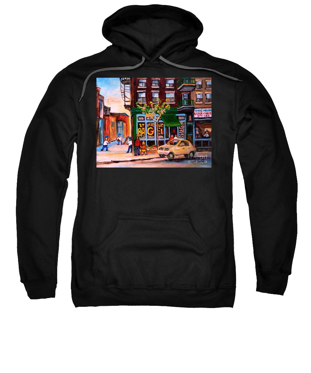 St.viateur Bagel Sweatshirt featuring the painting Autumn In The City by Carole Spandau